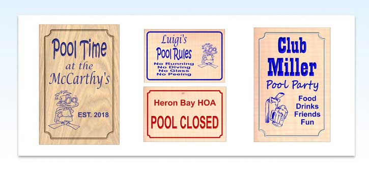 Custom Carved Wood Pool Signs