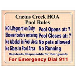 Custom Carved Community Pool Rules Sign