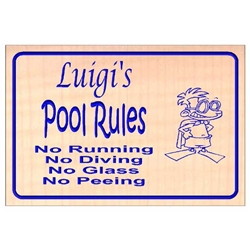 Custom Carved Pool Rules Sign