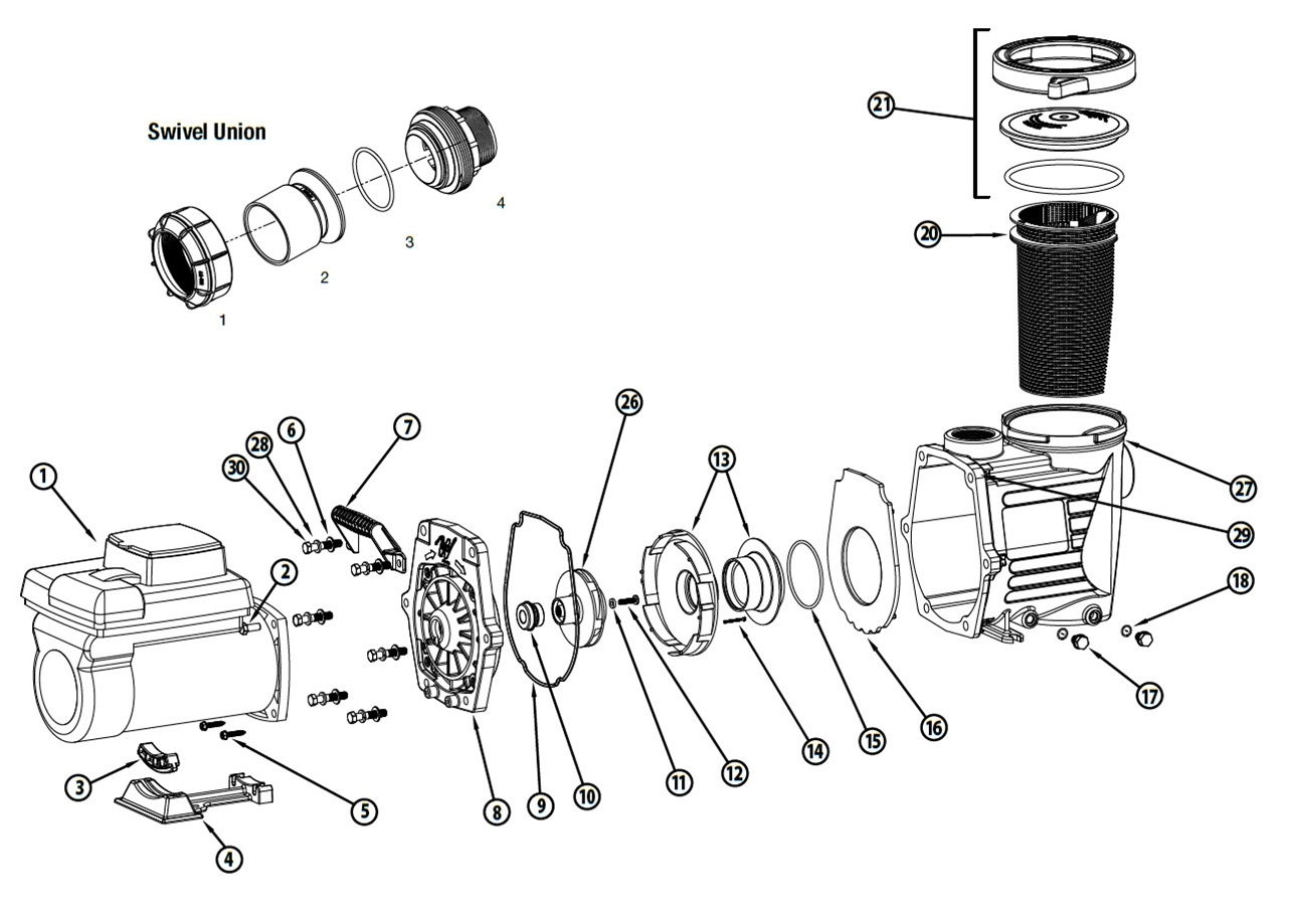 waterway econo flo series 2 7hp variable speed pump parts  waterway champion wiring diagram #6